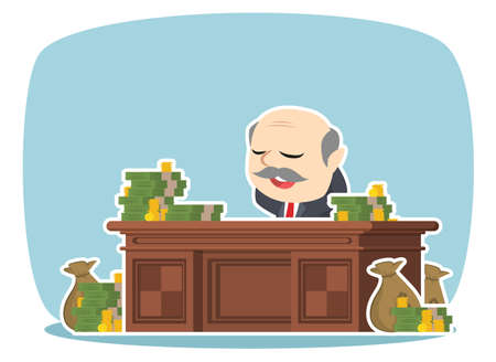 Boss relaxing on his desk with lots of money