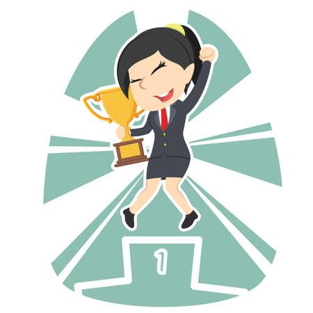 Businesswoman happy on podium holding trophy.