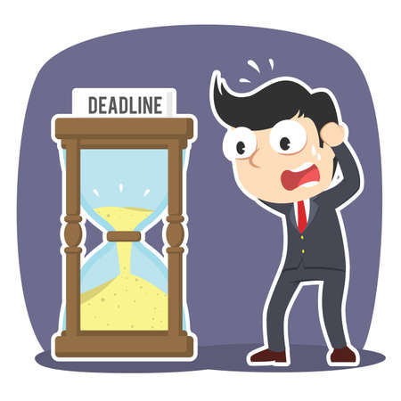 Businessman in panic with deadline hourglass Çizim