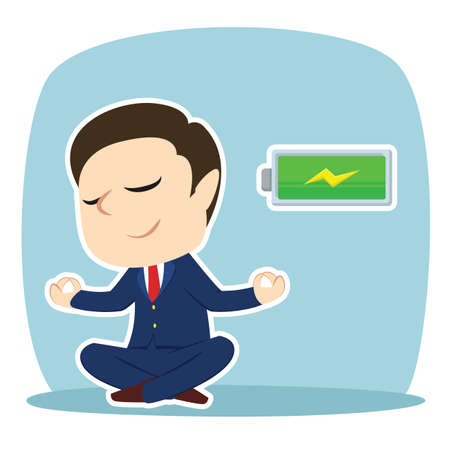 Businessman doing yoga with full battery
