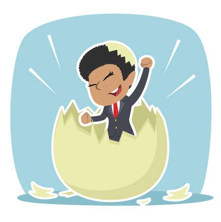 African businesswoman hatched from egg illustration design Ilustrace