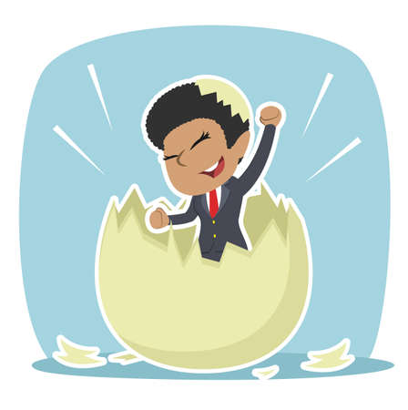 African businesswoman hatched from egg illustration design Vettoriali