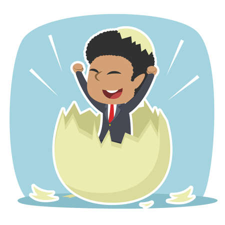African businessman hatched from egg illustration design Vettoriali