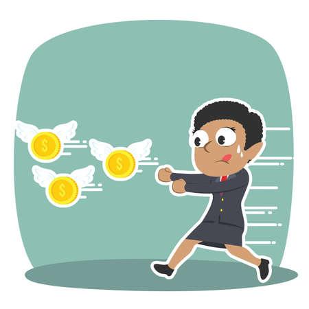 Afrikanische Geschäftsfrau , die fliegende Münze jagt Standard-Bild - 93256308