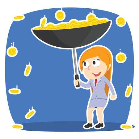 Businesswoman gather coin with umbrella rain