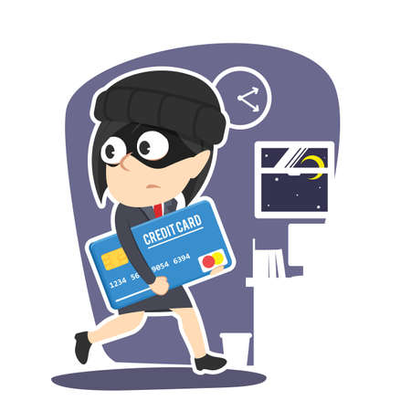 Businesswoman stealing credit card