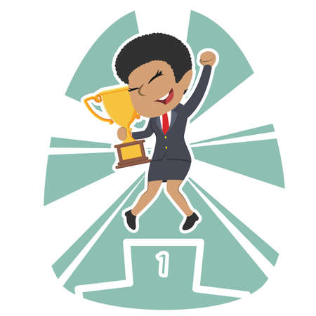 African businesswoman happy on podium holding trophy Ilustrace