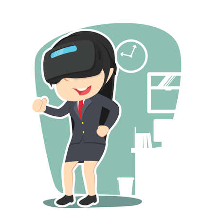Businesswoman with virtual reality device illustration.