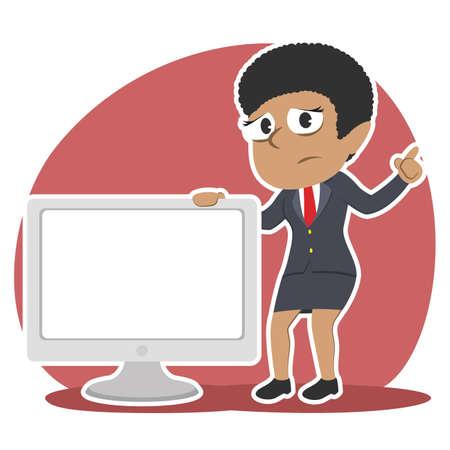 Traurige afrikanische Geschäftsfrau , die großen leeren Monitor darstellt Standard-Bild - 93256230