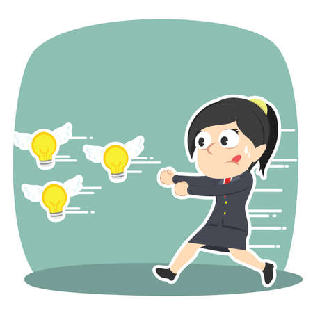 Businesswoman chasing flying ideas 向量圖像