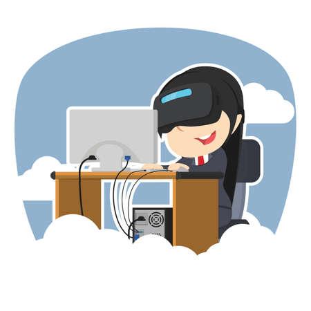 Businesswoman working with vr sky background Standard-Bild - 93255953