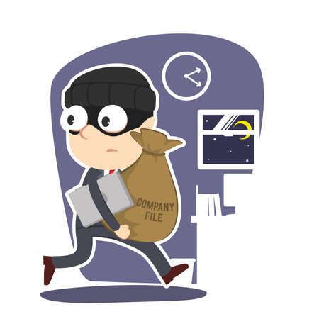 Businessman stealing company file and data Standard-Bild - 93257439