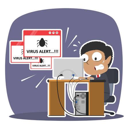 African businessman panic with virus alert pop up