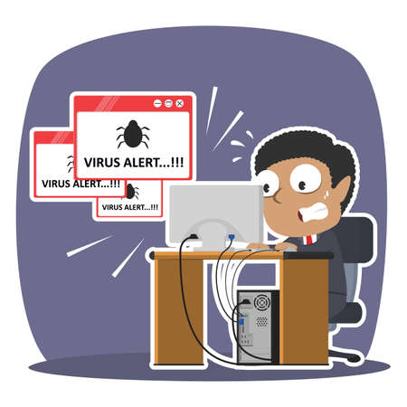 African businessman panic with virus alert pop up
