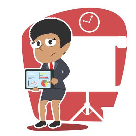 Afrikanische Geschäftsfrau mit schlechten Ergebnis Präsentation Tablette Standard-Bild - 93256538
