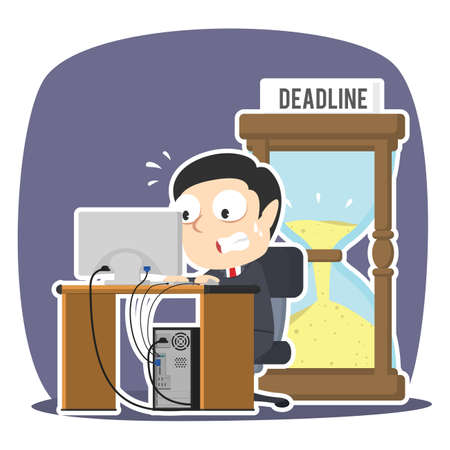 Businessman working in panic with deadline hourglass Vettoriali