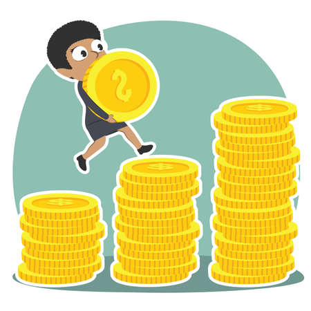 African businesswoman climbing coin stairs while carrying coin