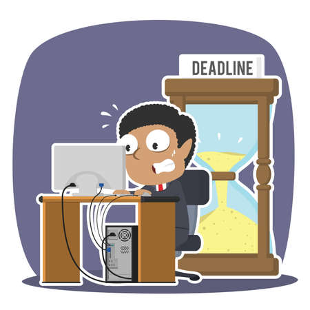 African businessman working in panic with deadline hourglass
