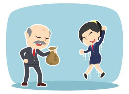 Boss giving money sack to his female employee 일러스트