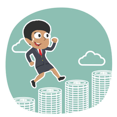 African businesswoman running on coins