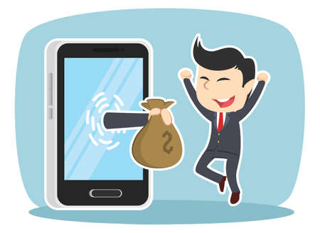 Businessman happy got money from smartphone