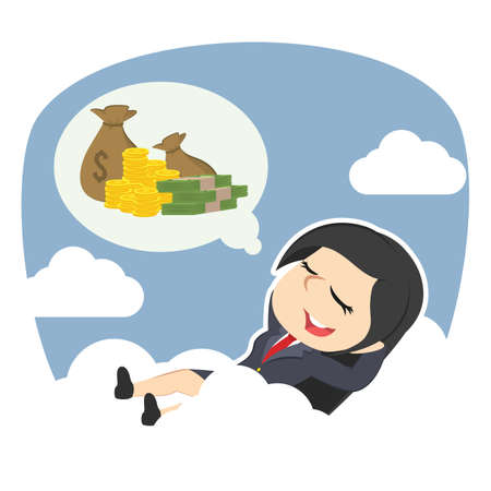 Businesswoman relaxing on clouds thinking about money Illustration