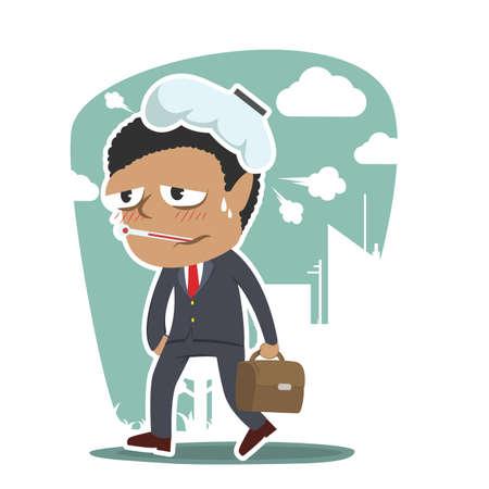 Sick African businessman going to work Ilustração
