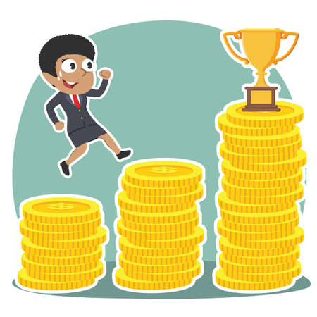 African businesswoman climbing coin stairs to trophy illustration.