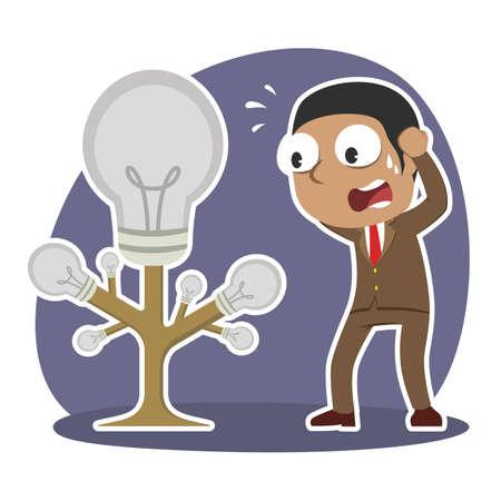 African businessman panic with dead idea tree illustration. Illustration
