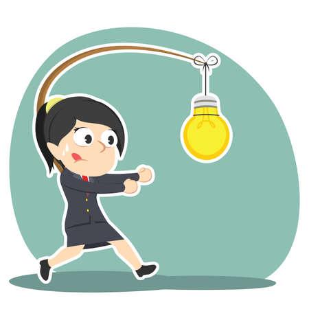 Businesswoman is chasing bulb. Illustration