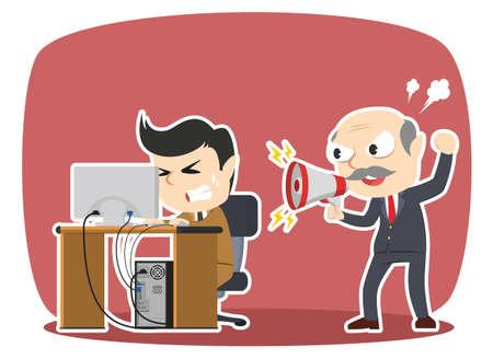 Boss schreit seinen betonten männlichen Angestellten Standard-Bild - 93265942