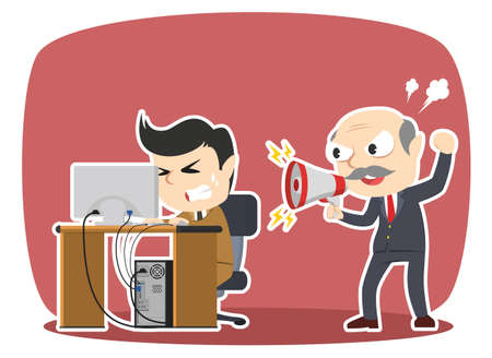 Boss yelling to his stressed male employee Ilustração