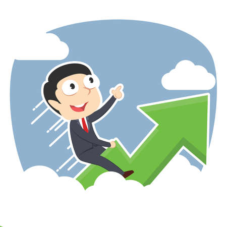 Businessman riding graph through clouds