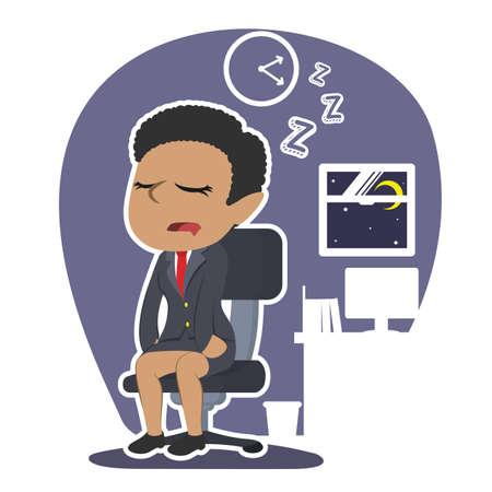 アフリカのビジネスウーマンが眠りに落ちる  イラスト・ベクター素材