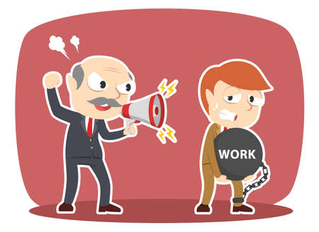 Boss forced work hard to his male employee illustration. Illustration