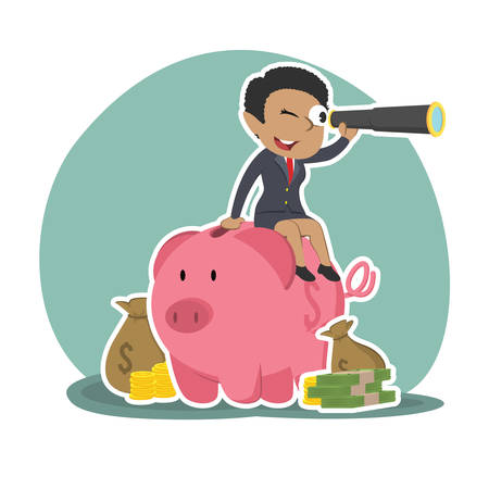 African businesswoman is using binocular on piggy bank Ilustração