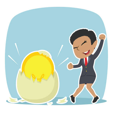African businesswoman got her idea hatched from egg illustration design Vectores