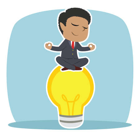 African businessman doing yoga on bulb