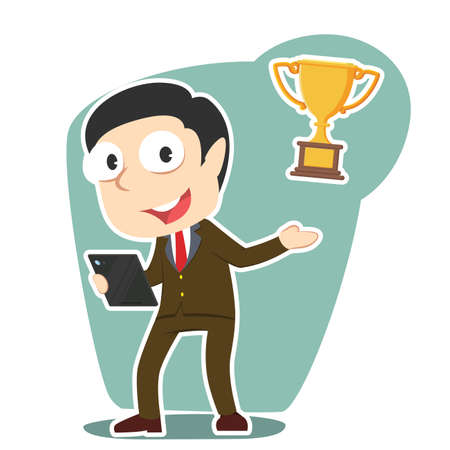 Businesswoman presenting trophy illustration vector Illustration