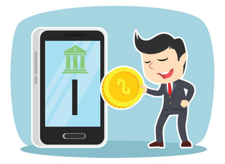 Businessman inserting coin to mobile banking Ilustrace
