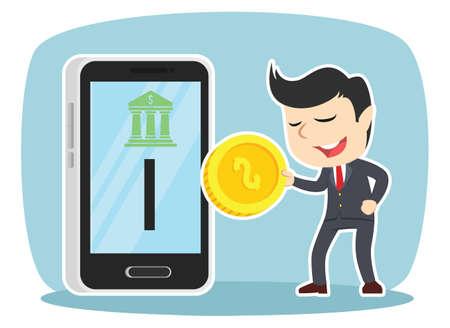 Geschäftsmann Einfügen Münze zum Handy Standard-Bild - 93254975