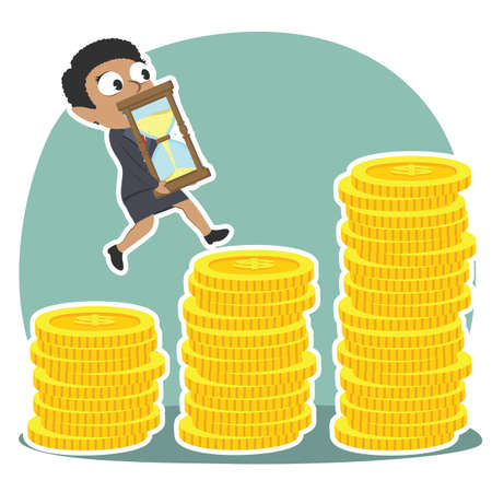 African businesswoman is climbing coin stairs carrying hourglass