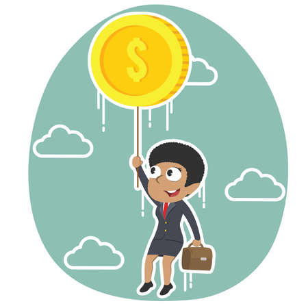 African businesswoman flying with coin illustration. Vettoriali