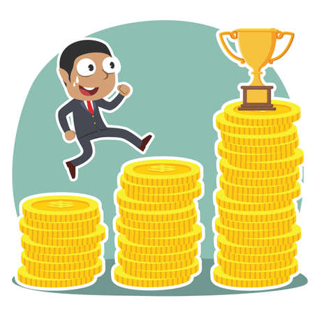 African businessman climbing coin stairs to trophy concept illustration.