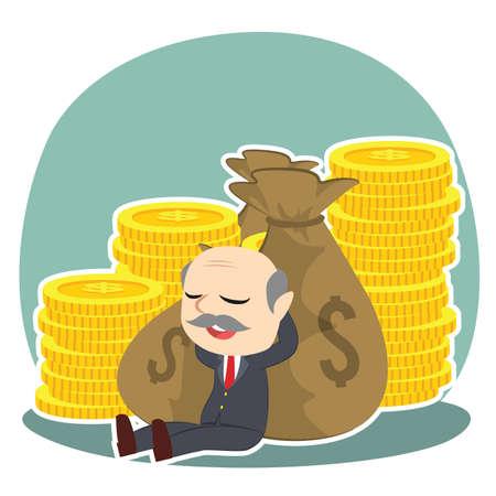 Boss relaxing on money vector illustration.