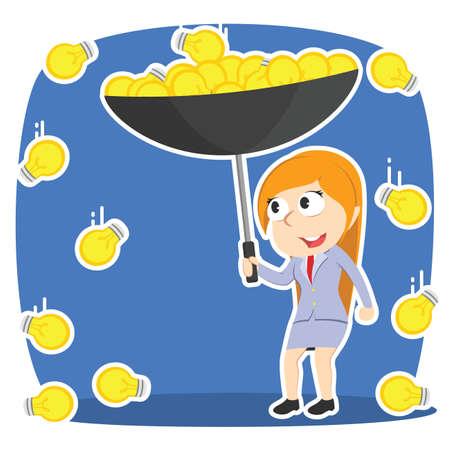 Businesswoman gathering idea with umbrella in idea rain Illustration