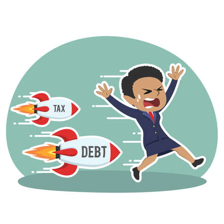 African businesswoman being chased by tax debt rocket
