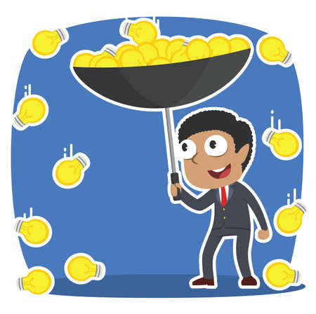 African businessman gathering idea with umbrella in idea rain illustration design