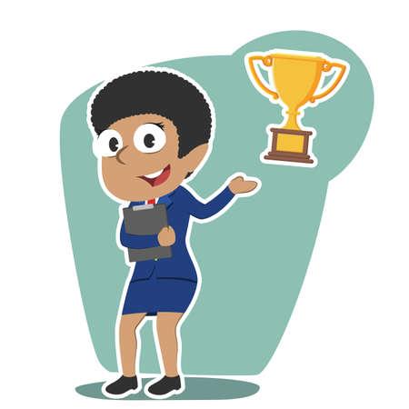 African businesswoman presenting trophy Illustration