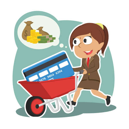 Indian businesswoman with credit card in wheelbarrow